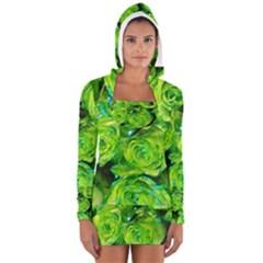 Festive Green Glitter Roses Valentine Love  Women s Long Sleeve Hooded T-shirt