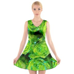 Festive Green Glitter Roses Valentine Love  V-Neck Sleeveless Skater Dress
