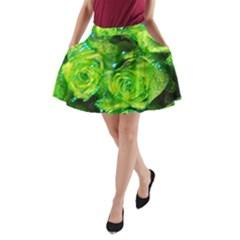 Festive Green Glitter Roses Valentine Love  A-Line Pocket Skirt