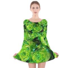 Festive Green Glitter Roses Valentine Love  Long Sleeve Velvet Skater Dress