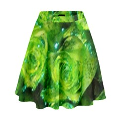 Festive Green Glitter Roses Valentine Love  High Waist Skirt