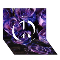 Purple Glitter Roses Valentine Love Peace Sign 3D Greeting Card (7x5)