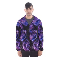 Purple Glitter Roses Valentine Love Hooded Wind Breaker (men)