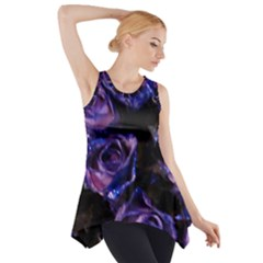 Purple Glitter Roses Valentine Love Side Drop Tank Tunic