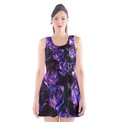 Purple Glitter Roses Valentine Love Scoop Neck Skater Dress