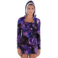 Purple Glitter Roses Valentine Love Women s Long Sleeve Hooded T-shirt