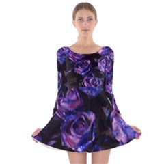 Purple Glitter Roses Valentine Love Long Sleeve Velvet Skater Dress