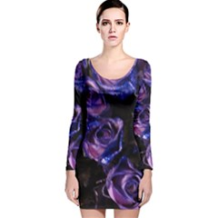 Purple Glitter Roses Valentine Love Long Sleeve Velvet Bodycon Dress