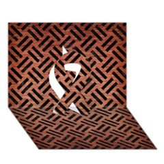 Woven2 Black Marble & Copper Brushed Metal (r) Ribbon 3d Greeting Card (7x5)