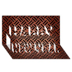 Woven2 Black Marble & Copper Brushed Metal (r) Happy New Year 3d Greeting Card (8x4)