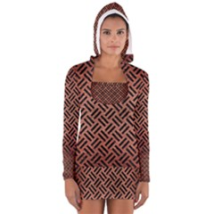 Woven2 Black Marble & Copper Brushed Metal (r) Long Sleeve Hooded T Shirt