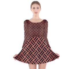 WOV2 BK MARBLE COPPER (R) Long Sleeve Velvet Skater Dress