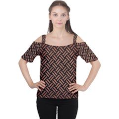 Woven2 Black Marble & Copper Brushed Metal Cutout Shoulder Tee
