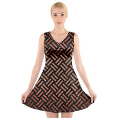 WOV2 BK MARBLE COPPER V-Neck Sleeveless Skater Dress