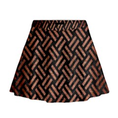 Woven2 Black Marble & Copper Brushed Metal Mini Flare Skirt