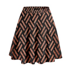 Woven2 Black Marble & Copper Brushed Metal High Waist Skirt