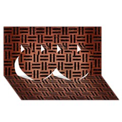 Woven1 Black Marble & Copper Brushed Metal (r) Twin Hearts 3d Greeting Card (8x4)