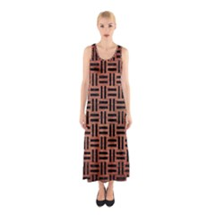 Woven1 Black Marble & Copper Brushed Metal (r) Sleeveless Maxi Dress