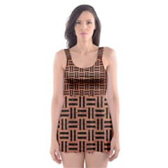 WOV1 BK MARBLE COPPER (R) Skater Dress Swimsuit
