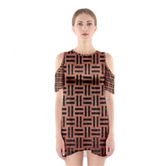 WOV1 BK MARBLE COPPER (R) Cutout Shoulder Dress