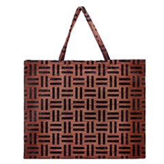 Woven1 Black Marble & Copper Brushed Metal (r) Zipper Large Tote Bag
