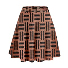 Woven1 Black Marble & Copper Brushed Metal (r) High Waist Skirt