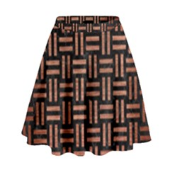 Woven1 Black Marble & Copper Brushed Metal High Waist Skirt