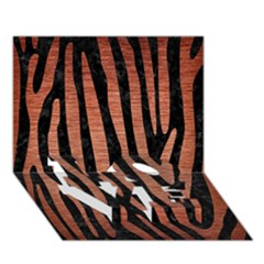 Skin4 Black Marble & Copper Brushed Metal (r) Love Bottom 3d Greeting Card (7x5)
