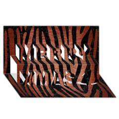 Skin4 Black Marble & Copper Brushed Metal (r) Merry Xmas 3d Greeting Card (8x4)