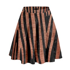 Skin4 Black Marble & Copper Brushed Metal (r) High Waist Skirt