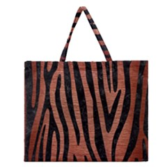 Skin4 Black Marble & Copper Brushed Metal Zipper Large Tote Bag