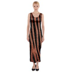 Skin4 Black Marble & Copper Brushed Metal Fitted Maxi Dress