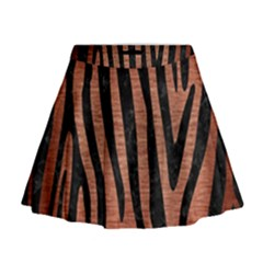 Skin4 Black Marble & Copper Brushed Metal Mini Flare Skirt