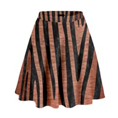 Skin4 Black Marble & Copper Brushed Metal High Waist Skirt