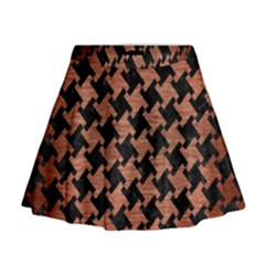 Houndstooth2 Black Marble & Copper Brushed Metal Mini Flare Skirt