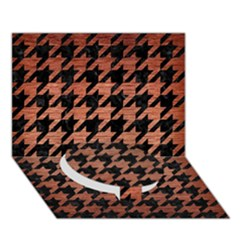 Houndstooth1 Black Marble & Copper Brushed Metal Circle Bottom 3d Greeting Card (7x5)