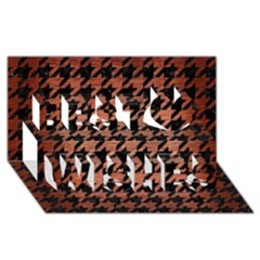 Houndstooth1 Black Marble & Copper Brushed Metal Best Wish 3d Greeting Card (8x4)