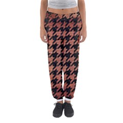 Houndstooth1 Black Marble & Copper Brushed Metal Women s Jogger Sweatpants
