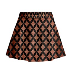 Circles3 Black Marble & Copper Brushed Metal (r) Mini Flare Skirt