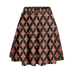 Circles3 Black Marble & Copper Brushed Metal (r) High Waist Skirt