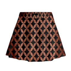 Circles3 Black Marble & Copper Brushed Metal Mini Flare Skirt