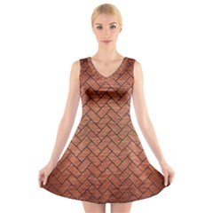 BRK2 BK MARBLE COPPER (R) V-Neck Sleeveless Skater Dress