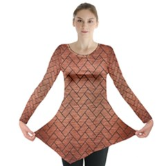 Brick2 Black Marble & Copper Brushed Metal (r) Long Sleeve Tunic
