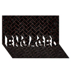 Brick2 Black Marble & Copper Brushed Metal Engaged 3d Greeting Card (8x4)