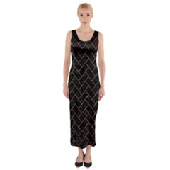 BRK2 BK MARBLE COPPER Fitted Maxi Dress