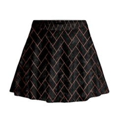 Brick2 Black Marble & Copper Brushed Metal Mini Flare Skirt
