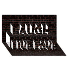 Brick1 Black Marble & Copper Brushed Metal Laugh Live Love 3d Greeting Card (8x4)