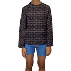 Brick1 Black Marble & Copper Brushed Metal Kids  Long Sleeve Swimwear