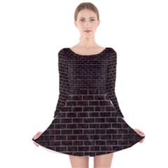 Brick1 Black Marble & Copper Brushed Metal Long Sleeve Velvet Skater Dress