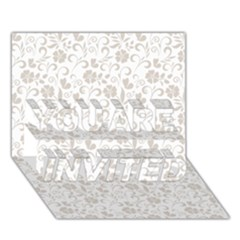 Elegant seamless Floral Ornaments Pattern YOU ARE INVITED 3D Greeting Card (7x5)